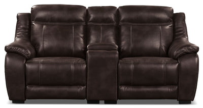 Novo Leather-Look Fabric Power Reclining Loveseat – Brown - Modern style Loveseat in Brown