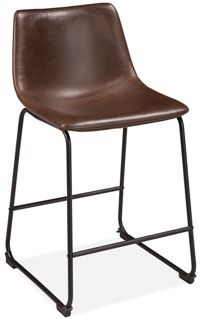 Centiar Counter-Height Dining Chair - Industrial style Dining Chair in Light Brown Metal and Faux Leather