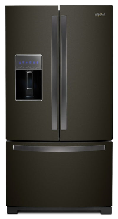 Whirlpool 27 Cu. Ft. French-Door Refrigerator in Fingerprint-Resistant Black Stainless – WRF757SDHV - Refrigerator with Exterior Water/Ice Dispenser in Black Stainless Steel