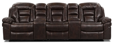 Leo Leath-Aire® Fabric 5-Piece Reclining Home Theatre Sectional – Walnut - Contemporary style Sectional in Walnut