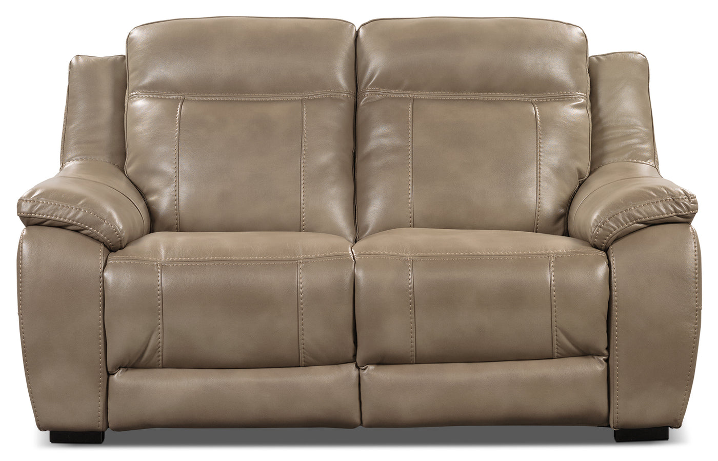 Novo Leather Look Fabric Loveseat Taupe