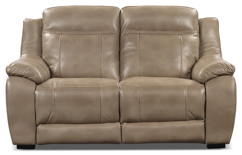 Novo Leather-Look Fabric Loveseat – Taupe - Modern style Loveseat in Taupe