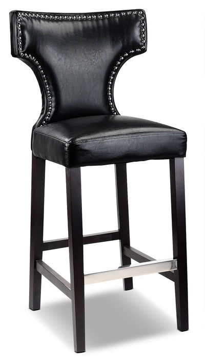Kings Bar-Height Bar Stool with Metal Studs – Black|Ensemble de 2 grands tabourets bar Kings avec clous décoratifs en métal - noir|DAD809BS