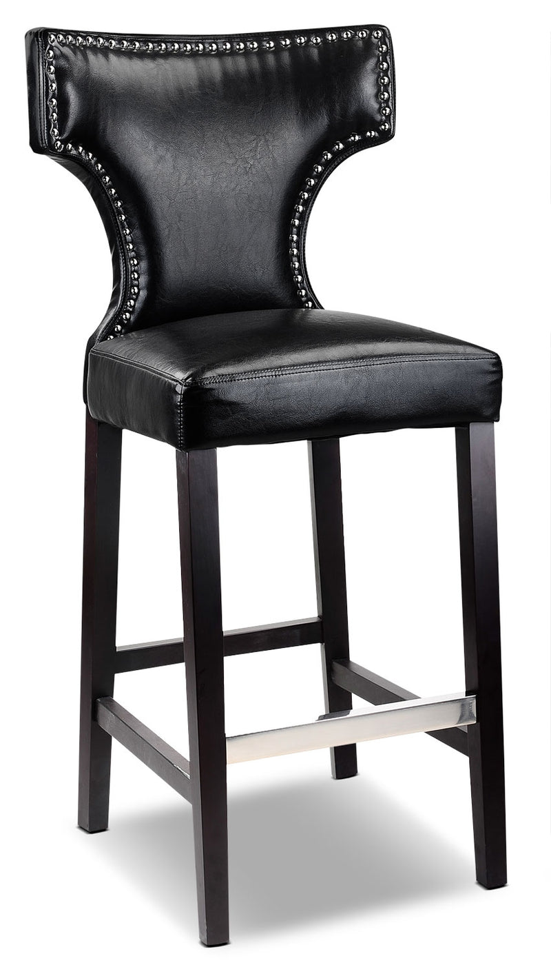 Kings Bar-Height Bar Stool with Metal Studs – Black - Modern style Bar Stool in Black Rubberwood Solids and Bonded Leather