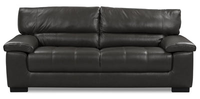 Chateau d'Ax 100% Genuine Leather Sofa - Charcoal - Contemporary style Sofa in Grey