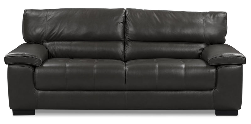 Chateau d'Ax 100% Genuine Leather Sofa - Charcoal|Sofa Chateau d'Ax en cuir 100 % véritable - anthracite