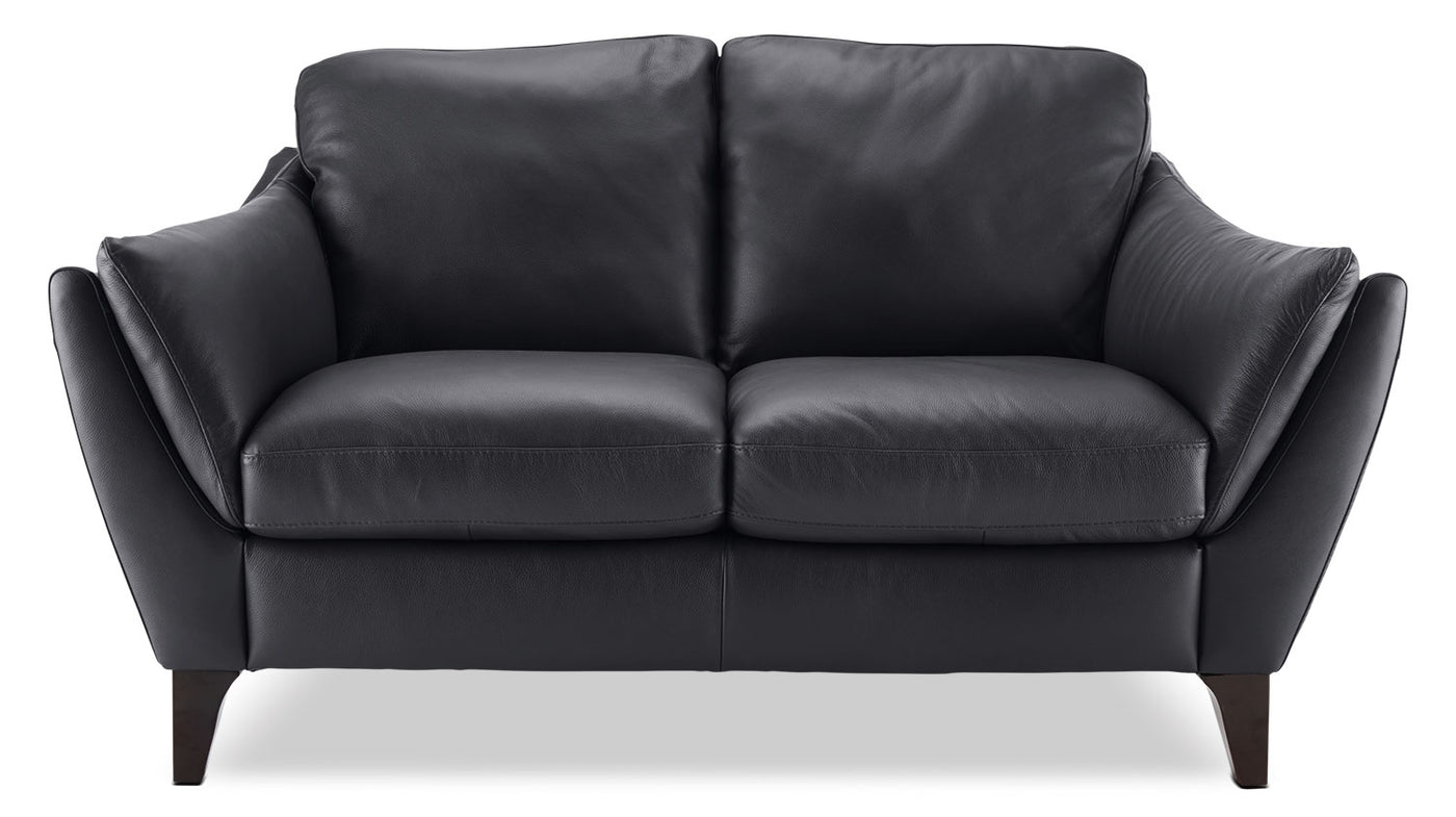 Fine Natuzzi Editions Denver Genuine Leather Loveseat Anthracite Pabps2019 Chair Design Images Pabps2019Com
