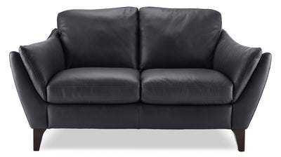 Natuzzi Editions Denver Genuine Leather Loveseat – Anthracite|Causeuse Denver de la collection Natuzzi Editions en cuir véritable - anthracite|A486BILV