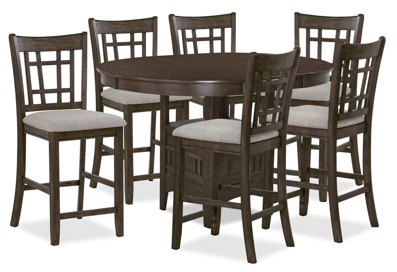 Desi 7-Piece Counter-Height Dining Package – Brown|Ensemble de salle à manger Desi 7 pièces de hauteur comptoir - brun|DESIGCP7