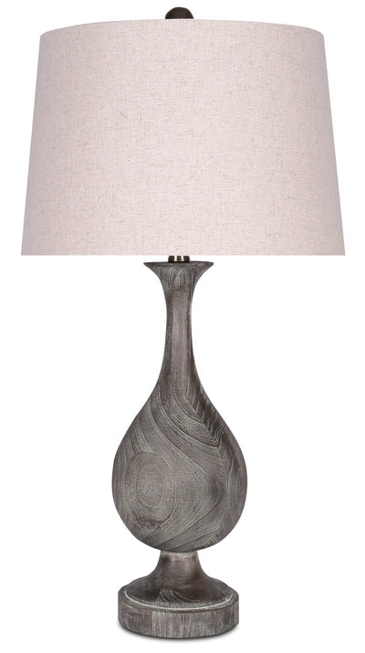 Acid Dusty Wood Resin Table Lamp with Linen Shade|Lampe de table en résine de bois au fini blanchi par l'acide avec abat-jour en lin|PT9075TL