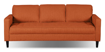 Paris Linen-Look Fabric Sofa – Tangerine - Modern style Sofa in Tangerine