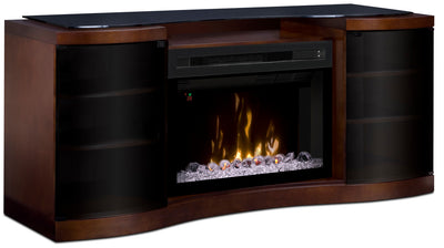 "Grandview 73"" TV Stand with Glass Ember Firebox - Modern style TV Stand with Fireplace in Walnut Medium Density Fiberboard"