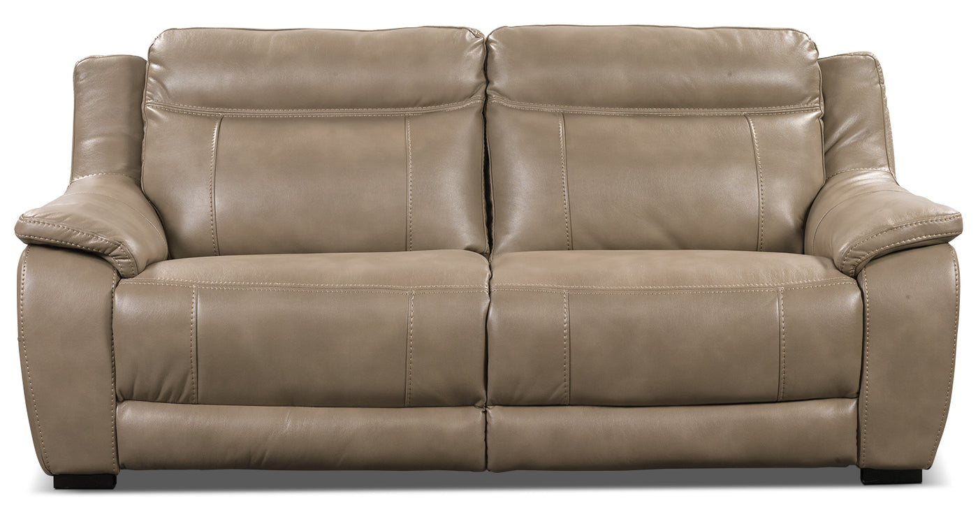 Novo Leather-Look Fabric Sofa – Taupe