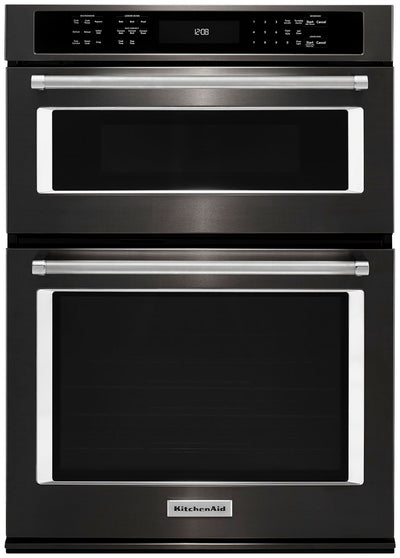"KitchenAid 27"" Combination Wall Oven with Even-Heat™ True Convection - KOCE507EBS - Double Wall Oven in Black Stainless Steel"