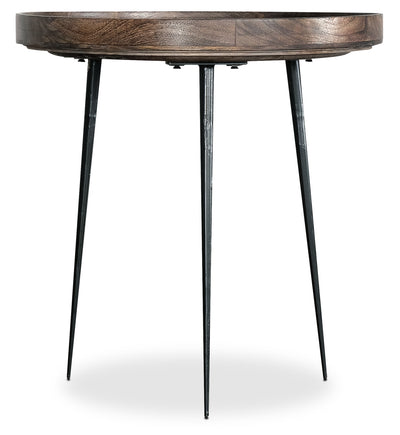 "Nashik 24"" Accent Table - Retro style End Table in Grey Brown Mango Wood and Metal"