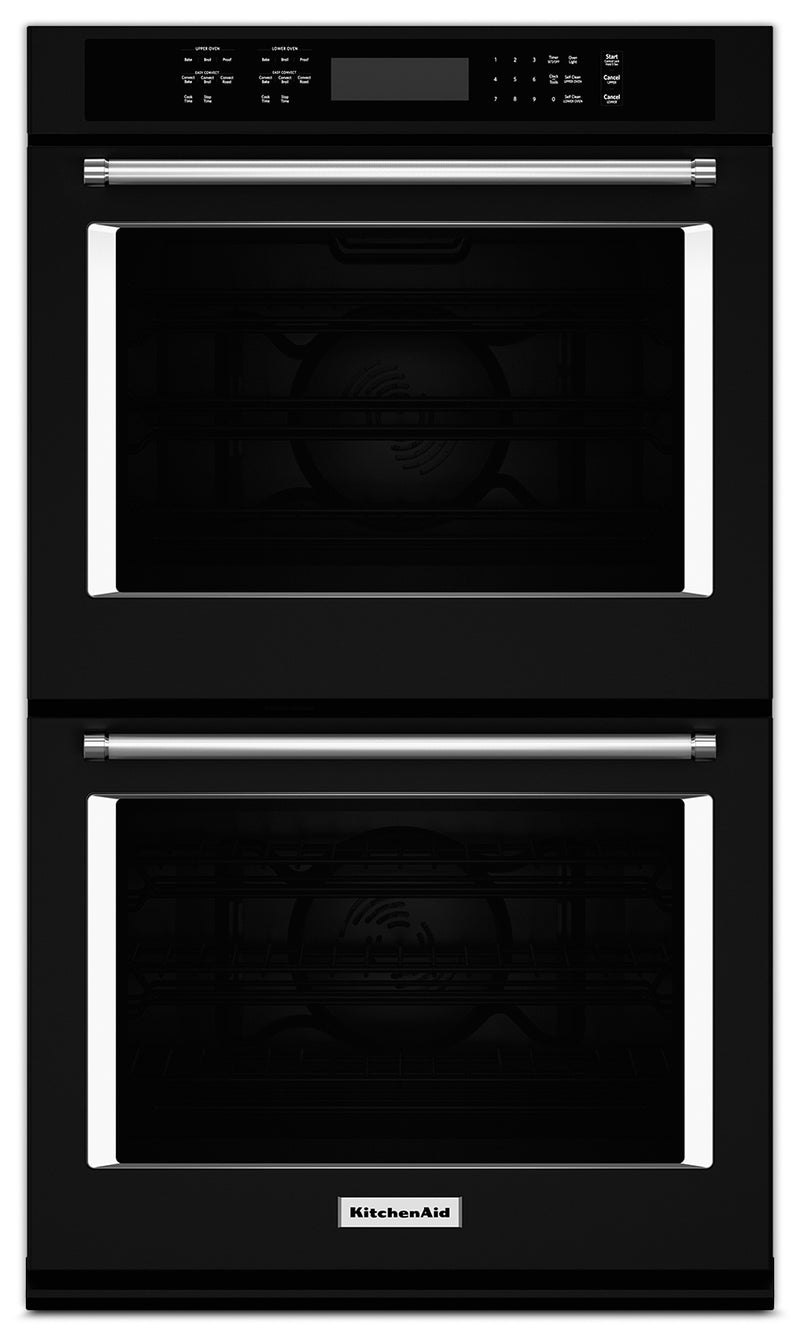 "KitchenAid 30"" Double Wall Oven - Black