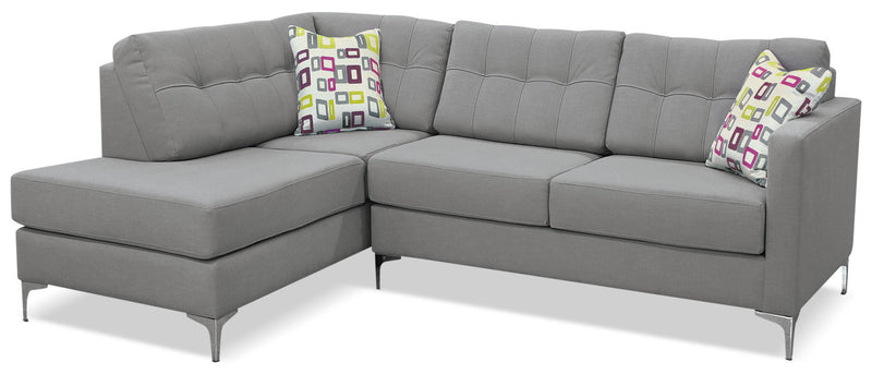 Ivy 2-Piece Linen-Look Fabric Left-Facing Sectional – Grey - Contemporary style Sectional in Grey