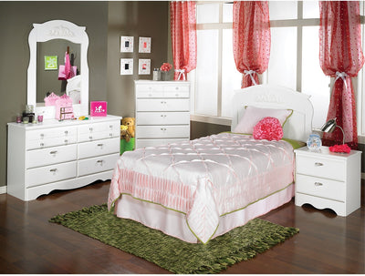 Diamond Dreams 4-Piece Bedroom Package - Contemporary style Bedroom Package in White