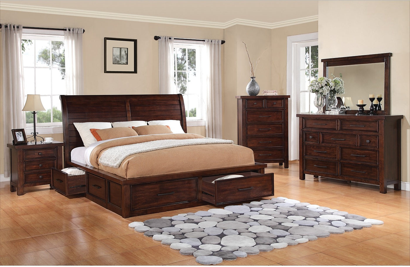 Sensational Sonoma 8 Piece King Storage Bedroom Set Dark Brown Home Interior And Landscaping Spoatsignezvosmurscom