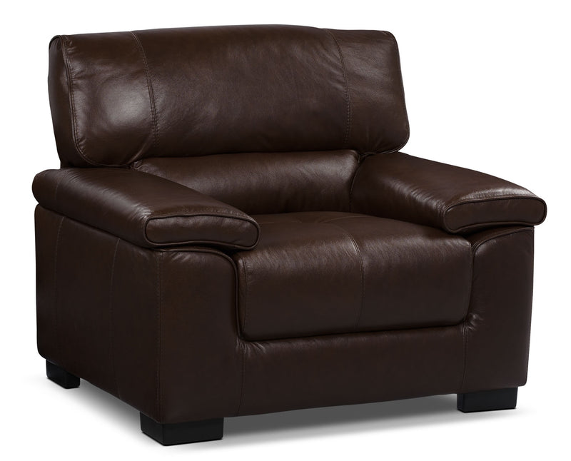 Chateau d'Ax 100% Genuine Leather Chair - Dark Brown|Fauteuil Chateau d'Ax en cuir 100 % véritable - brun foncé