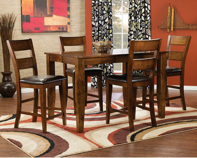 Dakota Light 5-Piece Pub Height Dining Package - Contemporary style Dining Room Set in Light Cherry