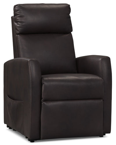 Lanny Leather-Look Fabric Power Lift Recliner – Chocolate - Contemporary style Chair in Chocolate