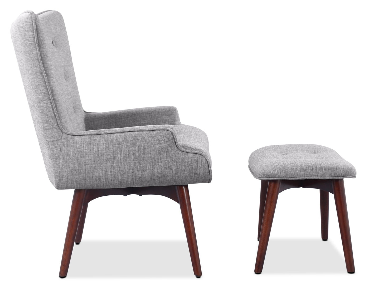 Light Gray Linen Dining Chairs: Kari Linen-Look Fabric Accent Chair With Ottoman