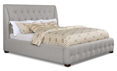 Berlin King Bed - Traditional style Bed in Taupe Pine and Fabric