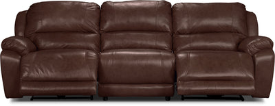 Marco Genuine Leather 3-Piece Power Reclining Sectional– Chocolate - Contemporary style Sectional in Brown