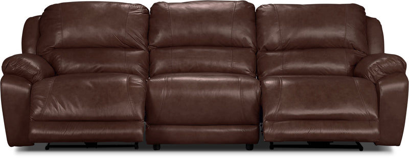 Marco Genuine Leather 3-Piece Power Reclining Sectional– Chocolate|Sofa sectionnel à inclinaison électrique Marco 3 pièces en cuir véritable - chocolat