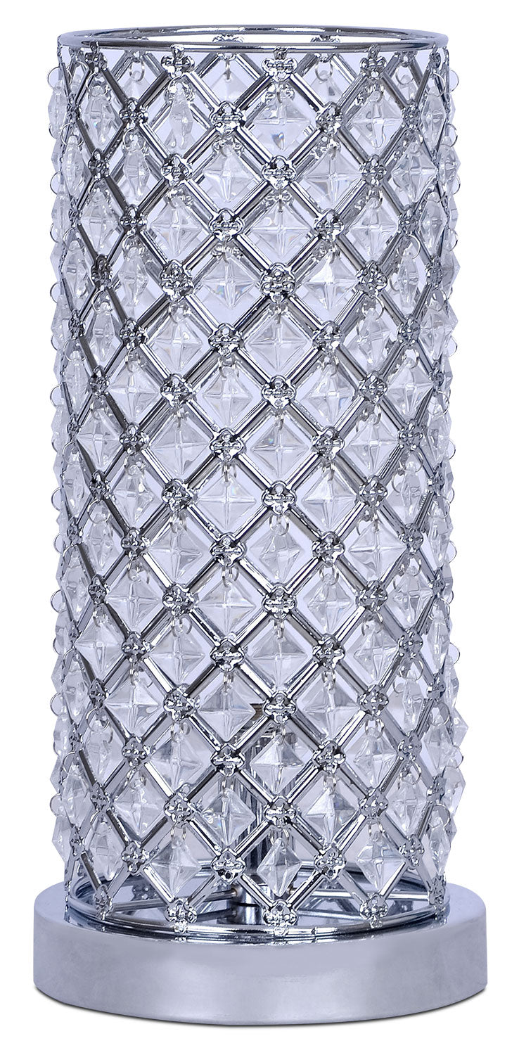 Chrome and Crystal Uplight Table Lamp|Lampe de table à éclairage vers le haut en chrome et en cristaux|SA9004TL