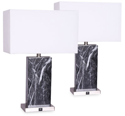 Pearl 2-Piece Table Lamp Set with USB Port | Ensemble 2 lampes de table Pearl avec port USB | PEARL2PK