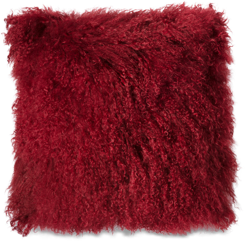Mongolian Sheepskin Accent Pillow – Red|Coussin décoratif Mogolian en peau de mouton de Mongolie - rouge