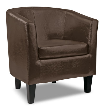 LAD Bonded Leather Accent Club Chair – Dark Brown|Fauteuil d'appoint club LAD en cuir contrecollé - brun foncé|LAD789CH