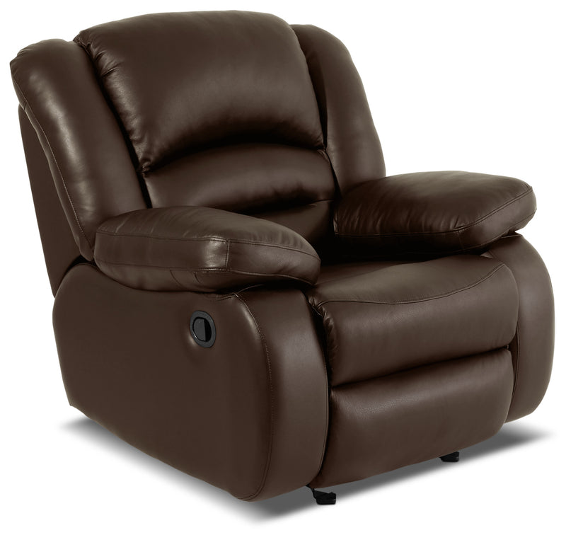 Toreno Genuine Leather Reclining Glider Chair – Brown|Fauteuil inclinable coulissant Toreno en cuir véritable - brun