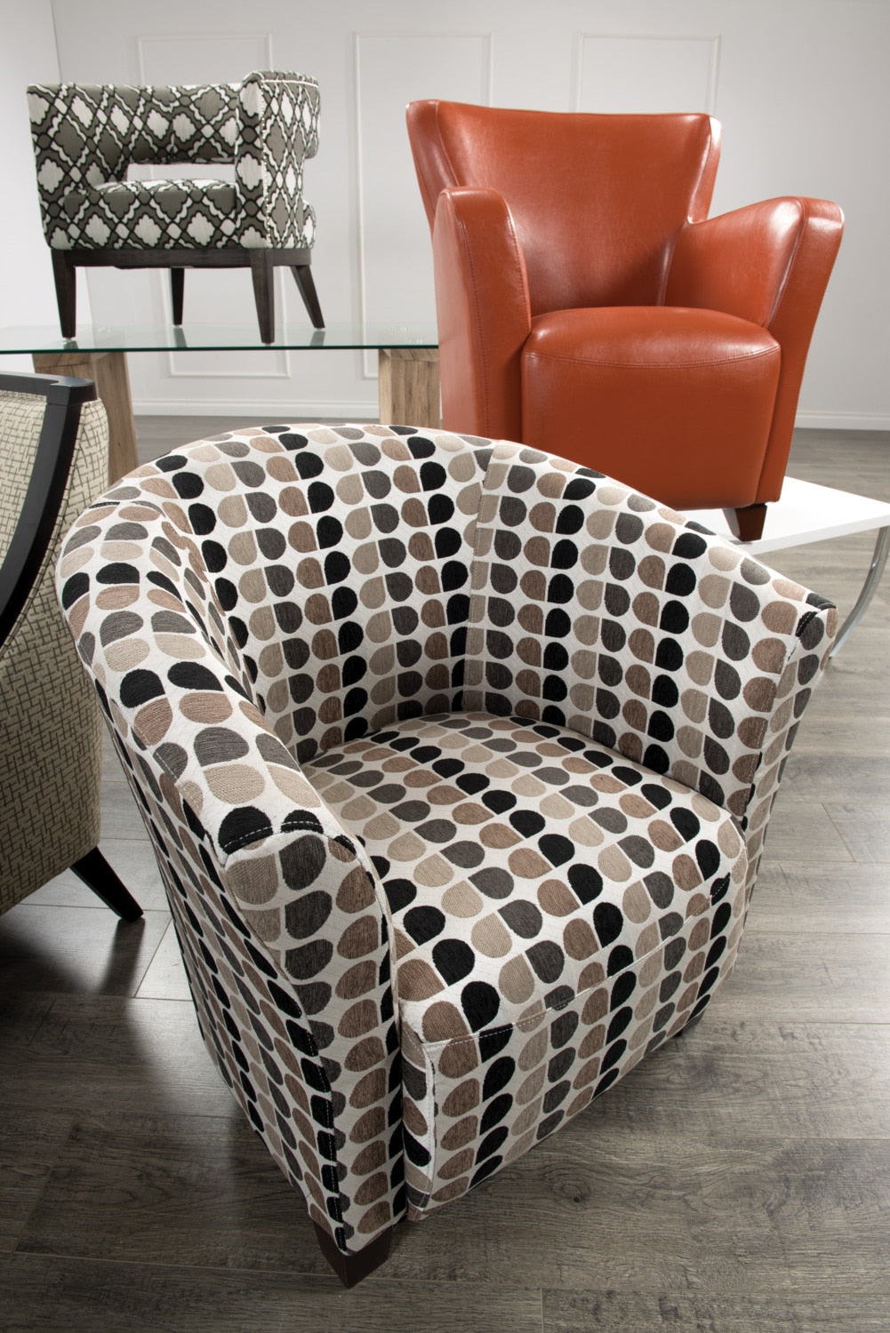 Tub Style Fabric Accent Chair Steel