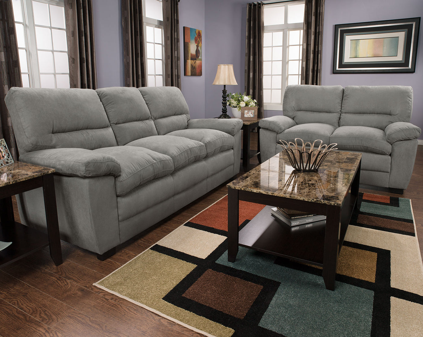 Astonishing Peyton Microsuede Loveseat Grey Ocoug Best Dining Table And Chair Ideas Images Ocougorg