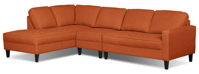 Paris 3-Piece Linen-Look Fabric Left-Facing Sectional – Tangerine - Modern style Sectional in Tangerine