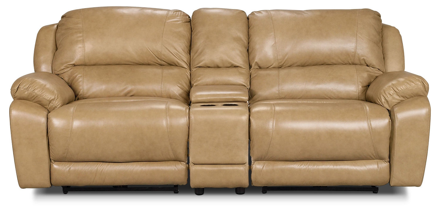 Marco Genuine Leather 3 Piece Power Reclining Sectional With Consol