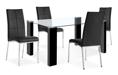 Milton 5-Piece Dining Package – Black - Modern style Dining Room Set in Black MDF and Glass