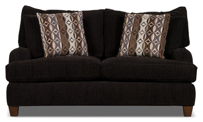 Putty Chenille Studio-Size Loveseat – Chocolate - Contemporary style Loveseat in Chocolate