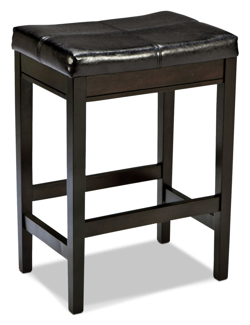 "Kimonte 24"" Bar Stool – Brown - Contemporary style Bar Stool in Dark Brown Hardwood Solids and Faux Leather"