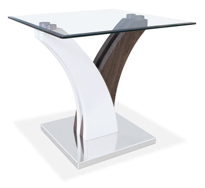 Tuxedo End Table - Modern style End Table in Grey/White Glass/Metal/Wood