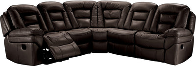 Leo Leathaire 5-Piece Reclining Sectional - Walnut - Contemporary style Sectional in Walnut