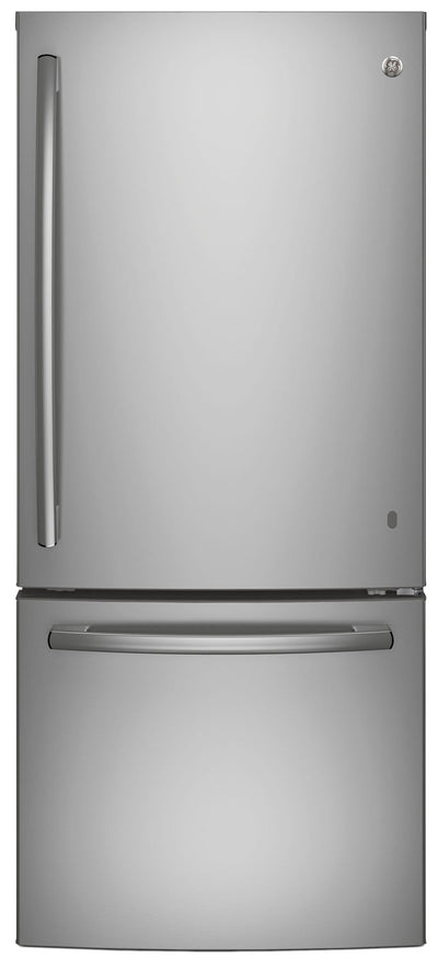 GE 20.9 Cu. Ft. Bottom-Freezer Refrigerator – GBE21ASKSS - Refrigerator in Stainless Steel