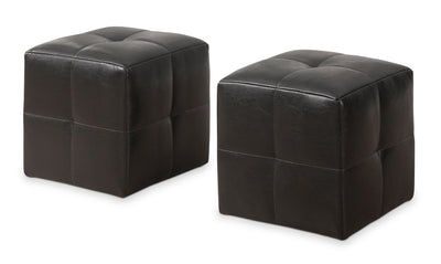Monarch Children's 2-Piece Ottoman Set – Dark Brown - Contemporary style Ottoman in Dark Brown Faux Leather and Foam
