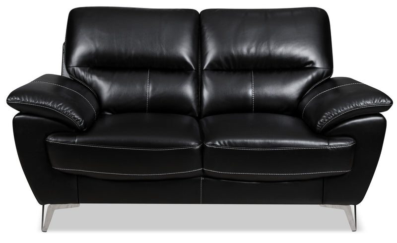 Olivia Leather-Look Fabric Loveseat – Black|Causeuse Olivia en tissu d'apparence cuir - noire|OLIVBKLV