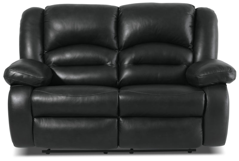 Toreno Genuine Leather Reclining Loveseat – Black|Causeuse inclinable Toreno en cuir véritable - noire
