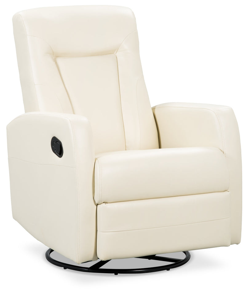 Molly Bonded Leather Swivel Recliner - Ivory|Fauteuil pivotant inclinable Molly en cuir contrecollé - ivoire|MOLLY-IV