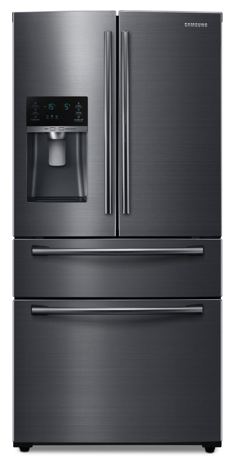 Samsung 25 Cu. Ft. French-Door Refrigerator – RF25HMEDBSG/AA - Refrigerator with Exterior Water/Ice Dispenser, Ice Maker in Black Stainless Steel